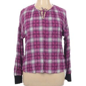 Juicy Couture Long Sleeve Purple Plaid Blouse XL